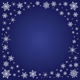 Square deep blue background with snowflakes frame Stock Photo