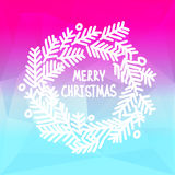 Square design with Christmas wreath on gradient Royalty Free Stock Photography