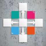 Square Design Cross Arrows Infographic Concrete. Template rectangles design on the concrete background Royalty Free Stock Photo
