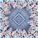 Square design for shawl and fabric printing with paisley elements. Geometric and flowers pattern coupon artwork for shawl design high quality fashion design Stock Images