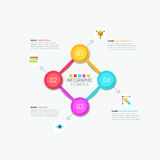 Square diagram with 4 bright colored elements Stock Image