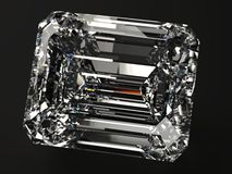 Square diamond render. Beautiful diamond render with refraction and caustic on black background Royalty Free Stock Photo