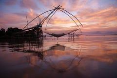 Square dip nets in southern sea, Baan Pak Pra, Phatthalung, Thailand. The morning light at Baan Pak Pra, Khuan Khanun District, Phatthalung during summer. Photo royalty free stock photography