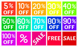 Square Discount Icons in Flat Design Royalty Free Stock Images