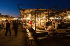 On the square Djema el Fnaa in Marrakesh at night Royalty Free Stock Photos