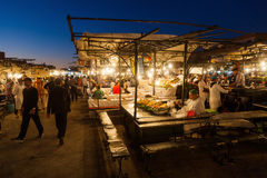 On the square Djema el Fnaa in Marrakesh at night Stock Image