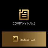 Square document paper gold logo Stock Images