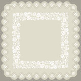 Square doily with traditional Hungarian white embroidery Royalty Free Stock Photos
