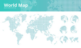 Square dotted world map with earth globes Stock Photos