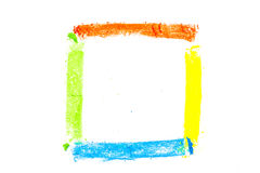 Square drawn with colorful pastel chalks Stock Photography