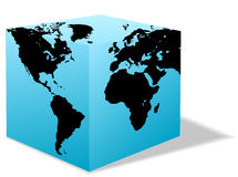 Square Earth globe box carton world Stock Image
