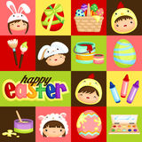 Square Easter Kids and Eggs Royalty Free Stock Images