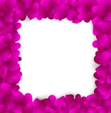 Square elegant frame made of cute pink paper hearts Stock Photo
