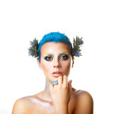 Square elegant girl with short hairstyle and flowers in hair Royalty Free Stock Image