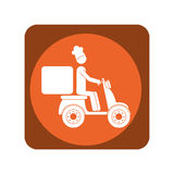 Square emblem with delivery man in scooter Royalty Free Stock Images