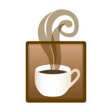 square emblem with hot cup of coffee Stock Image