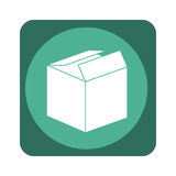 Square emblem with open packing box Royalty Free Stock Photos