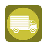 Square emblem of truck with wagon Royalty Free Stock Photos