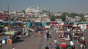 Square in Eminonu, Istanbul, Turkey. Square in Eminonu, the district on the south bank of the Golden Horn in Istanbul, Turkey stock video footage