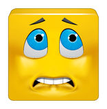 Square emoticon afraid Royalty Free Stock Photography