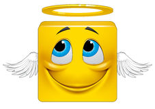 Square emoticon angel. Illustration on white background of Square emoticon angel Stock Images