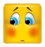 Square emoticon ashamed Royalty Free Stock Photography