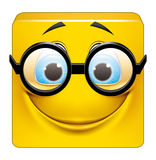 Square emoticon with big glasses Royalty Free Stock Image