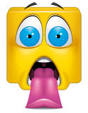 Square emoticon big shock Royalty Free Stock Photo