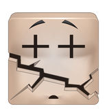 Square emoticon broken Stock Images