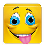 Square emoticon crazy Royalty Free Stock Image