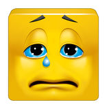 Square emoticon crying. Illustration on white background of Square emoticon crying Royalty Free Stock Photo