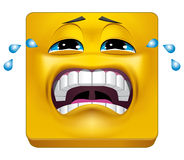 Square emoticon crying Stock Photo