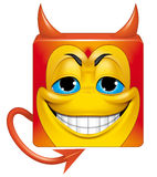 Square emoticon devil Stock Photo