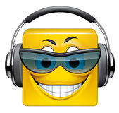 Square emoticon DJ. Illustration on white background of Square emoticon DJ Stock Photos