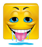 Square emoticon drooling Stock Image
