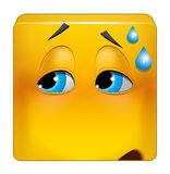 Square emoticon embarrassing situation. Illustration on white background of Square emoticon embarrassing situation Stock Photos