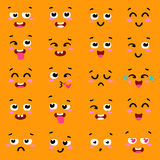 Square emoticon emoji set.  of colorful emoticons,  flat backgound.   face  design icons . Different emotions collection Royalty Free Stock Photography