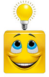Square emoticon eureka. Illustration on white background of Square emoticon eureka Royalty Free Stock Photos
