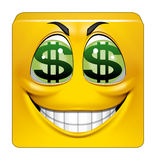 Square emoticon greedy. Illustration on white background of Square emoticon greedy Royalty Free Stock Photos