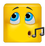 Square emoticon hiding his guilt Royalty Free Stock Images