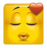 Square emoticon kissing. Illustration on white background of Square emoticon kissing Stock Photo
