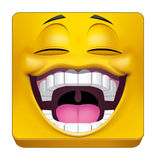 Square emoticon laughing. Illustration on white background of Square emoticon laughing Stock Photography