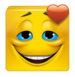 Square emoticon in love. Illustration on white background of Square emoticon in love Royalty Free Stock Photos