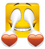 Square emoticon in love. Illustration on white background of Square emoticon in love Stock Photo