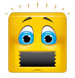 Square emoticon muted. Illustration on white background of Square emoticon muted Royalty Free Stock Photos