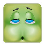 Square emoticon nausea. Illustration on white background of Square emoticon nausea Stock Image