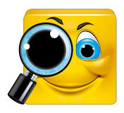 Square emoticon  searching. Illustration on white background of Square emoticon  searching Royalty Free Stock Photography