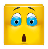 Square emoticon shocked Stock Images