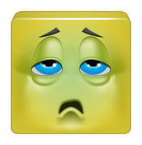 Square emoticon sick. Illustration on white background of Square emoticon sick Stock Photo