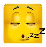 Square emoticon sleeping. Illustration on white background of Square emoticon sleeping Royalty Free Stock Photo